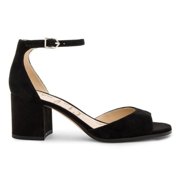 SAM EDELMAN Susie Black Suede Block Heel Sandals